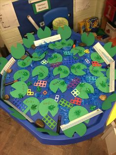 A fun way to explore with numicon. Children can work out adding and taking away with numicon for a prompt. Numicon Activities, Nursery Activities, Maths Eyfs, Eyfs Classroom, Early Years Maths, Early Math, Early Learning, Tuff Spot, Math Tables