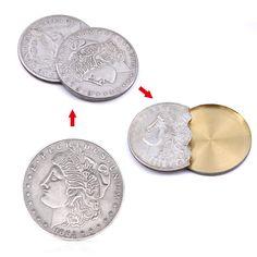 1895 BRIGHT WHITE US MORGAN DOLLAR TWO FACE HEADS  MAGIC TRICK COIN