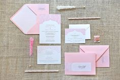 WEDDING INVITATION - Glam Pink Feathers Wedding Invite. via Jessica Bishop Paperie on Etsy.