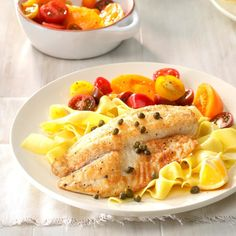 Tilapia With Lemon Caper Sauce Recipe Taste Of Home - Add Tilapia Cook Until Lightly Browned And Fish Just Begins To Flake Easily With A Fork Minutes Per Side Remove From Pan Keep Warm Add Broth Lemon Juice Butter And Capers To Same Skillet C Entree Recipes, Sauce Recipes, Healthy Dinner Recipes, Cooking Recipes, Drink Recipes, Healthy Meals, Healthy Eating, Shellfish Recipes, Seafood Recipes