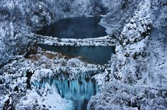 Frozen Falls at Plitvice Lakes National Park, Croatia