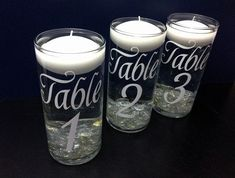 Wedding Table Numbers - Floating Candle Centerpiece on Etsy, $7.00 #floatingcandles