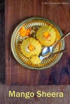 ' Sheera ' is a simple but popular sweet in India. It is known as ' Sooji ka Halwa ' in North and ' Kesari ' in South India, though the . Gujarati Cuisine, Gujarati Recipes, Indian Food Recipes, Mango Dessert Recipes, Mango Recipes, Desserts, Cookbook Recipes, Kitchen Recipes, Cooking Recipes