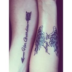 """Me and my loves couple tattoo we created. """"Her Guardian His Angel"""" Couple Tattoo Quotes, Couple Tattoo Ideas, Couples Tattoo Designs, Couple Tattoos Love, Family Tattoos, Romantic Couples Tattoos, Tattoo Couples, Couple Ideas, Guardian Tattoo"""