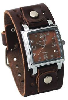 Nemesis #BBB516B Men's Dark Brown Wide Leather Cuff Band Analog Brown Dial Watch Nemesis. $38.97. Water Resistant - 10M. Stainless Steel Caseback, Genuine Wide Leather Strap. Mineral Crystal, Silver Tone Hands and Markers. Case Size:  35.5mm Diameter, 11mm Thickness, Band Width:  39mm. Precise Japan Quartz Movement. Save 22% Off!