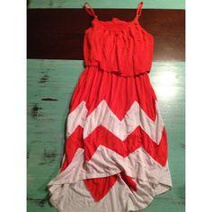 Chevron dress Chevron print dress / size small / spaghetti straps and high low Dresses High Low