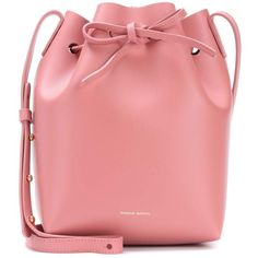 Mansur Gavriel Small Leather Bucket Bag (5 650 SEK) ❤ liked on Polyvore featuring bags, handbags, shoulder bags, crossbody bags, pink, red leather purse, leather cross body purse, pink crossbody purse, leather shoulder bag and leather purses