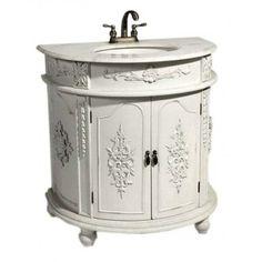 ANTIQUE WHITE SHABBY CHIC FRENCH BATHROOM VANITY UNIT SINK DRAWERS | eBay