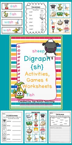 This pack includes fun, hands on activities and games for teaching the digraph 'sh'. These activities are great for individual or small group work. $ http://www.teacherspayteachers.com/Product/Digraph-Activities-Games-Worksheets-sh