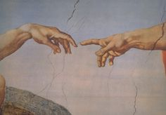 Painting by Michelangelo 1511 The scene of the touching fingers is a reference to Michelangelo's depiction of the creation of Adam in the Sistine Chapel Michelangelo, Aesthetic Painting, Aesthetic Art, Renaissance Kunst, Aesthetic Desktop Wallpaper, The Creation Of Adam, Bizarre Facts, Sistine Chapel, Wow Art