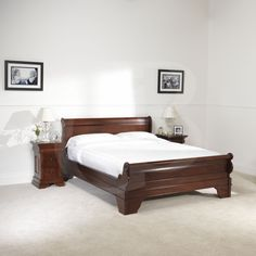 details about egb10 solid mahogany sleigh bed frame in double and super king size