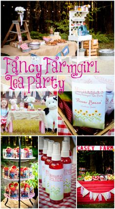 Fancy farmgirl tea party birthday, perfect for a girl birthday! My little girl would love the fruit in a mason jar. Farm Birthday, Tea Party Birthday, First Birthday Parties, Birthday Party Themes, Birthday Ideas, Girls Tea Party, Tea Party Theme, Barnyard Party, Farm Party