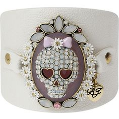 Betsey Johnson Betsey Leather Skull Cuff ($45) ❤ liked on Polyvore featuring jewelry, bracelets, multi, stud earrings, beading jewelry, betsey johnson, leather pendant, betsey johnson jewelry and flower jewelle