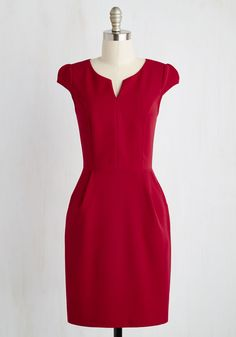 Cove Conference Dress in Ruby. When work takes you to a tropical locale, your first order of business is to don this red sheath and match the fiery sunset. #red #modcloth