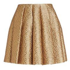 Creatures of the Wind 'Seville' Pleated Metallic Brocade Miniskirt ($1,030) ❤ liked on Polyvore featuring skirts, mini skirts, bottoms, faldas, jupes, short brown skirt, mini skirt, flare skirt, short skirts and brocade skirt