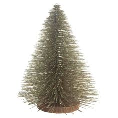"""Decorate your home with the Threshold™ Bottle Brush Tree with Wood Base Champagne 12"""". This small decorative tree would look great on a table top or mantle. The champagne color on this Christmas decoration complements the usual reds and greens. Add this tree to your other Christmas décor for a cool look. Spruce up your living room with this Christmas home décor. 12"""" tall."""