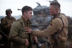Logan Lerman and Brad Pitt in FURY (2014)