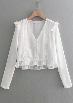 women sweet v neck lace patchwork chiffon shirt blouse ladies pleated ruffles femininas blusas chic buttons chemise tops N.XINZHE women sweet v neck lace patchwork chiffon shirt blouse ladies Women's Clothing Casual Skirt Outfits, Crop Top Outfits, Trendy Outfits, Blouse Styles, Blouse Designs, Outfit Elegantes, New Fashion, Fashion Outfits, Ladies Fashion