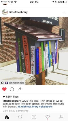 If you are eager to set up a little free library near you, we share these little free library plans to get you inspired and ready to start DIY-ing! Little Free Library Plans, Little Free Libraries, Little Library, Mini Library, Library Books, Library Inspiration, Library Ideas, Street Library, Bronze Award