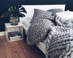 Grande Punto Decke. Chunky knit Decke. Kuschelige Decke. von Ohhio
