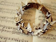 butterfly music wreath - made with sheet music from Christmas Carols