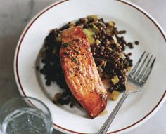 Salmon with Lentils and Mustard-Herb Butter.   I broiled the fish and then abt 1 m b/f done smear with the butter.  Reduced lentil butter mix then added lentils. Use more lemon than called for. Dry tarrag. and minced carrot next time. Served w/ simple sal.