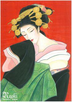 Oiran (=Geisha) painting  Japanese tattoo artist Ryoki working in Berlin Germany
