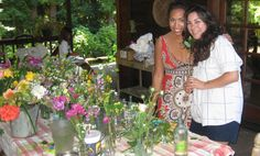 This Bride and gal pals gathered up lots and lots of old glass vases and bottles,kinda  vintage style containers.  Easy with just a few stems and lots of laughing  with good friends.
