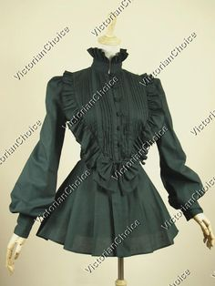 Victorian Gothic Lolita Steampunk Black Blouse Top Shirt Reenactment Halloween Witch Costume B005