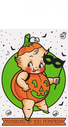 Express all your feels with the adorable creepy kewpie Pumpkin Card! It comes with an envelope and is blank inside so you can write a personalized message.