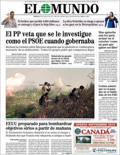 Los Titulares y Portadas de Noticias Destacadas Españolas del 28 de Agosto de 2013 del Diario El Mundo ¿Que le pareció esta Portada de este Diario Español?