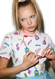 Lazy Oaf Nail Art T-Shirt we don't like the look of that chipped sh!t, babe! Get yer claws prim 'n proper in this adorable white cropped tee,…