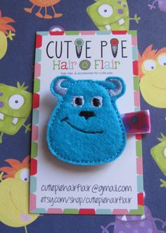 "Monsters Inc ""Sulley"" Clippie on Etsy, $3.50"
