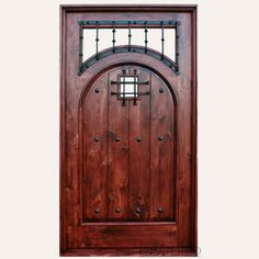 Front doors, the Puerta Espanola features an arch design, in a square top frame. A glass opening provides lighting and privacy. With iron clavos.