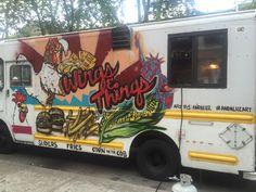 Wings N' Things Food Truck Custom Mural done on the side of the truck.  #chicken #wings #yum #food #andaluz #the #artist #foodtruck #custom #painted #corn #burgers #fries #art