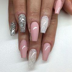 """Nude Pink"", Diamond och silverglitter"
