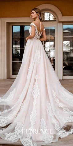a line wedding dresses illusion back lace with buttons blush florence wedding Rustic Wedding Dresses, Custom Wedding Dress, Wedding Dress Sleeves, Long Wedding Dresses, Lace Weddings, Boho Wedding Dress, Dresses With Sleeves, Wedding Ideas, Prom Dresses
