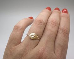 Minimalist jewelry. Dainty jewelry. Tiny gold leaf ring stacking ring, knuckle ring, midi ring in sterling silver and brass $15.00