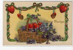 Hearts & Violets in Gold Basket Vintage VALENTINE Postcard
