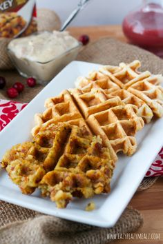 Leftover Waffles: Use leftover mashed potatoes, stuffing, or sweet potatoes to make these delicious waffles, and save time and money by using up leftovers. #ad - Eazy Peazy Mealz