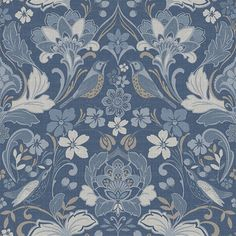 Folk Floral by Arthouse - Grey - Wallpaper : Wallpaper Direct Blue Floral Wallpaper, Bird Wallpaper, Embossed Wallpaper, Paper Wallpaper, Wallpaper Roll, Paisley Wallpaper, Feature Wallpaper, Simple Wallpapers, Blue Wallpapers