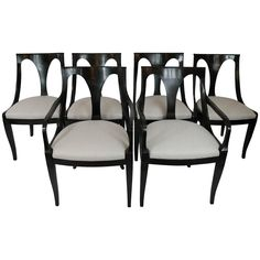 Set Of Six Empire Inspired Dining Chairs By Kindel
