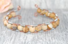Reclaimed Copper Wire and PIcture Jasper Beaded Wirework Bracelet by Ladyjscreative on Etsy