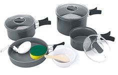 ChezMax Aluminium Outdoor Cooking Kit Nonstick Camping Cookware and Pot Set 16 Piece Set for Camping  Backpacking  Hiking  BBQPicnic Camping Pot Set for 45 People ** To view further for this item, visit the image link.