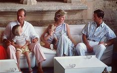 Prince Charles and Princess Diana with their sons at Majorca, Spain with King Juan Carlos