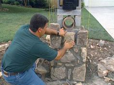 stone mailbox designs How to Set Stones for a Stone Column Mailbox HowTo DIY Network Stone Mailbox, Diy Yard Decor, Yard Decorations, Mailbox Makeover, Mailbox Post, Mailbox Ideas, Fence Ideas, Driveway Ideas, Mailbox Stand