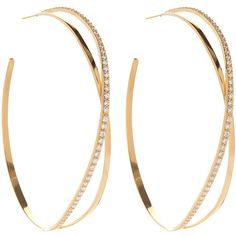 Lana Flawless Vol. 2 Crossover Diamond Hoop Earrings ($7,220) ❤ liked on Polyvore featuring jewelry, earrings, accessories, hoop earrings, pave diamond jewelry, lana earrings, diamond jewelry and lana jewelry