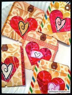 Pocket Heart Valentines with StencilGirl Stencils by Jessica Sporn.