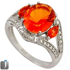 5.37cts ORANGE RAINBOW TOPAZ 925 STERLING SILVER COCKTAIL RING SIZE 8 D5849 #jewelexi #RING