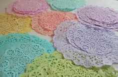 color dyed paper doilies